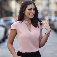 Fashion Sexy Womens Casual Chiffon Solid Crew Neck Short Sleeve Shirt Top Blouse