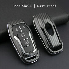 Carbon Fiber Hard Smart Key Cover For Ford Lincoln Accessories Chain Case Holder