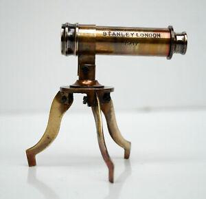Antique brass victorian mini telescope with tripod stand tabletop office decor