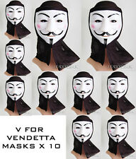 Pack 10 V De Vendetta Con Capucha Pvc Máscara Fancy Dress hoguera de noche Fiesta
