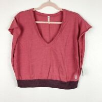 Free People Movement Women's Large Pink Happy Camper Tee Cropped Activewear