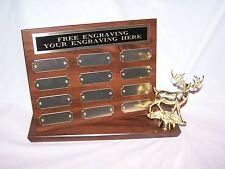 Big Buck/Deer Camp Stand Up Perpetual Plaque Trophy Award Free Engraving!