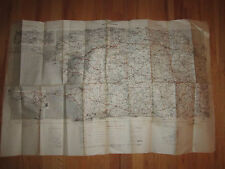 "1941 FRENCH EUROPEAN ROAD MAP - BREST - QUIMPER - 28"" X 44"" - 1ST ED. - TUB RH-7"
