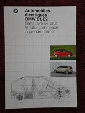 BMW E1 et E2 les voitures électriques de ville 1992 rare Brochure Prospekt Catalogue-Texte Français
