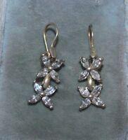Sparkling CZ Crystal Flower Dangle Sterling Silver Pierced Earrings 12i 54