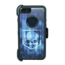 For iPhone 6 Plus / 6S Plus Defender Case w/ Clip fits Otterbox Blue Skull