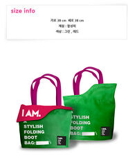 I AM GIRLS' GENERATION SUPER JUNIOR SHINEE SM TOWN GOODS GREEN FOLDING BOOT BAG