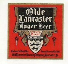 12oz Irtp Lager Beer Bottle Label The Olde Lancaster Brewing Co Lancaster Pa
