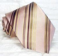 Cravatta classica uomo rosa antico Regimental JACQUARD seta Made in Italy RP€ 38