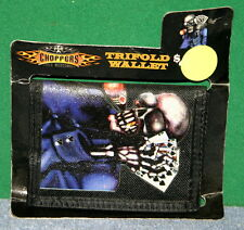 Vintage CHOPPERS Tri-Fold Wallet with Skeleton Playing Poker and Death Hand NIP
