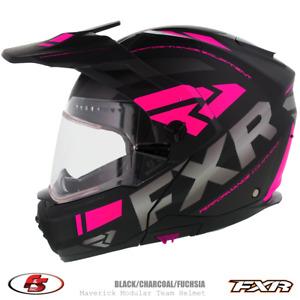 New 2020 FXR Maverick X Snowmobile Helmet Black/Char/Fuchsia XS electric shield