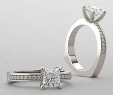 1.16 ct 1.01 carat Princess cut Diamond GIA cert E color VS1 14k White Gold Ring