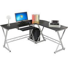 L-Shaped Computer Desk Corner Home Office Student Furniture Black Wood Laptop PC