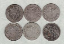 More details for six victoria silver three pences 1860/61/62/65/66 & 1874 in well used condition