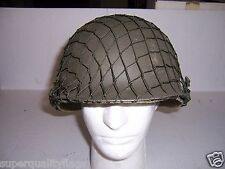 ORIGINAL US M1 STEEL POT HELMET COMPLETE WITH LINER & WWII NET STYLE COVER