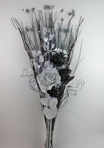 HANDMADE ARTIFICIAL SILK, SILVER & BLACK FLOWER GLITTER BOUQUET, LED LIGHTS