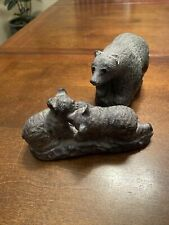 Vintage Signed Wolf Originals Mamma Bear and Cubs Sculptures Made in Canada