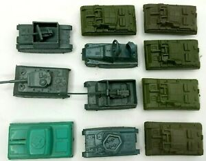 Lido Green WWII Plastic Army Tank Panzer Tiger Some Turrets Turn Lot of 11 VTG