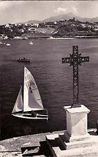 CIBOURE SOCOA 986 vue sur la tour de bordagain et la rhune voilier timbrée 1966