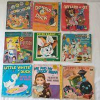 Lot of 9 Vtg Children's Records 45 RPM Vinyl Walt Disney Little Golden Records