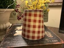 """Red Buffalo Checked~Clip On Lamp Shade~5""""H~FREE SHIPPING~Farmhouse/Cottage~"""