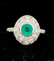 14k white gold Vintage ring 1.42ct natural green emerald in round shape