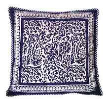 "Anokhi Dark Blue & White Floral Pillow Covers, 18""x18"", 100% Cotton"