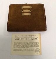 Vintage St. Thomas Women's BiFold Brown Genuine Leather/Suede Wallet Carry All