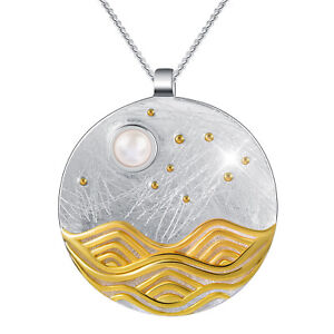 Elegant 18k Gold Round Pendant Solid 925 Sterling Silver Moonlight Fine Jewelry