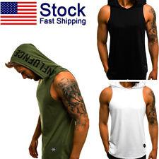 Men Gym Sleeveless sport Vest Bodybuilding Hooded Tanks Top Clothing T-Shirt US