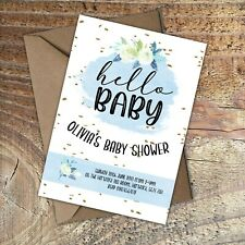BABY SHOWER INVITATIONS Hello Baby Boy! Personalised PK 10