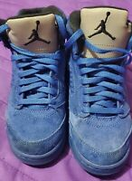 US SIZE 13.5C | Nike Air Jordan Retro 5 V Royal Blue Suede Black
