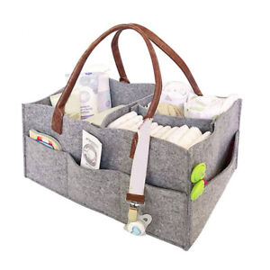 Portable Diaper Caddy Nursery Storage Baby Organizer Nappy Infant Wipes Bag Grey