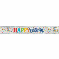 Happy Birthday 12ft Foil Banner - Party Decoration Bunting Wall Polka Dot