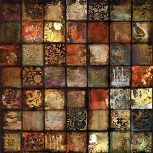 "34W""x34H"" BAROQUE COLLAGE IV by JOHN DOUGLAS - 49 MULTIPLE MOSIAC TILES CANVAS"