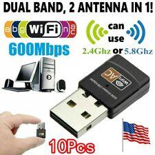 10pc Wireless Lan 2.4G/5G USB PC WiFi Adapter Network 802.11AC 600Mbps Dual Band