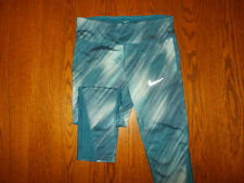 NIKE DRI-FIT BLUE FITTED CAPRI RUNNING PANTS WOMENS SMALL EXCELLENT CONDITION