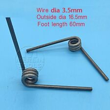 2PC Wire Dia 3.5mm, Outer dia 16.5mm, Arm length 60mm Torsion Spring