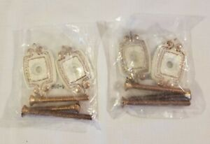 2 Sets NOS Vtg Amerock Interior Plates Door Handle #8862 Antique White w/Screws