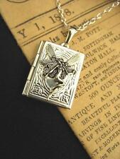 Silver Fairy Spells Book Photo LOCKET Necklace Pendant Antique Steampunk Vintage