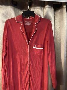 Vintage Victorias Secret Cotton Button Up Sleep Shirt Nightgown Size Medium