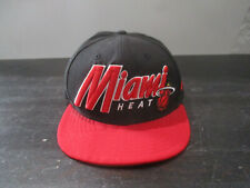 New Era Miami Heat Hat Hat Cap Black Red NBA Basketball Snap Back Mens