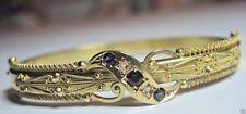 "Victorian Art Deco Vintage Sapphire Diamond Bracelet 15K Yellow Gold IC 6.5 """