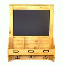 Antique Rustic Wooden Chalkboard With Hooks and Post Space 47 x 10 x 59cm