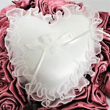 Heart Shape White Wedding Ring Bearer Pillow With Organza Trim