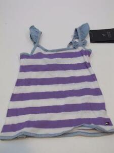 NWT Toddler Girls TOMMY HILFIGER Shirt Tank Top Purple White Stripes 6-9 months