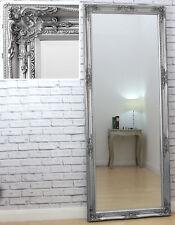 "Verona Full Length Silver Shabby Chic Leaner Wall Mirror 72"" x 29"" - 6ft Tall"