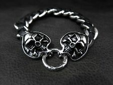 Spade Poker King Skull Leather Silver Bracelet for Harley Davidson Rider 164