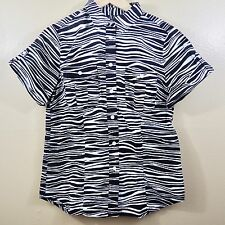 Michael Kors Zebra Print Camp Shirt Polo Black White Pockets Sz 8 Casual