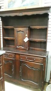 Antique French Oak Buffet Display Cabinet with Open Hutch w57 x d19.75 x 80.5
